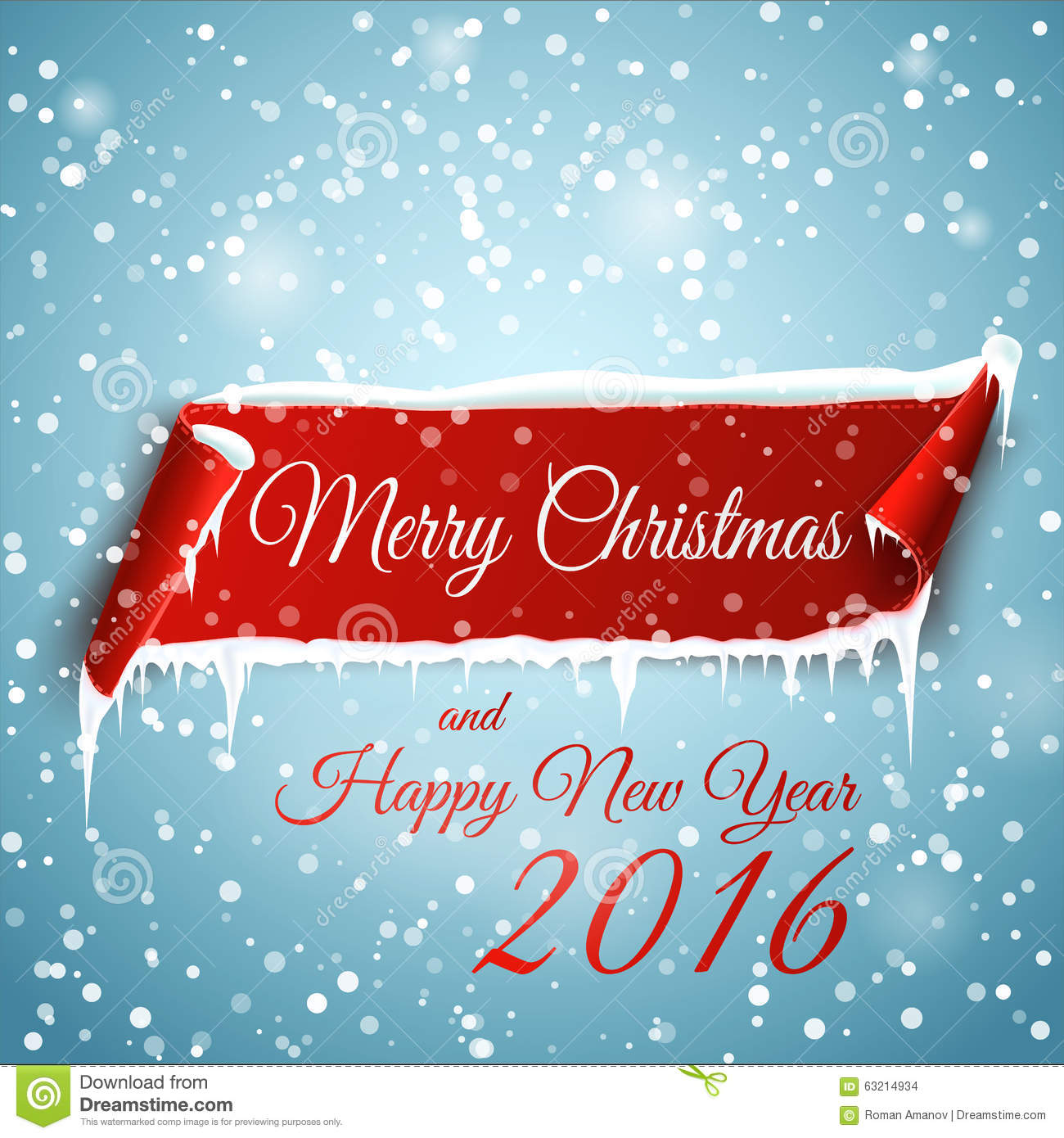 christmas background with red curved paper banner snow and icicles merry christmas and happy new year 2016