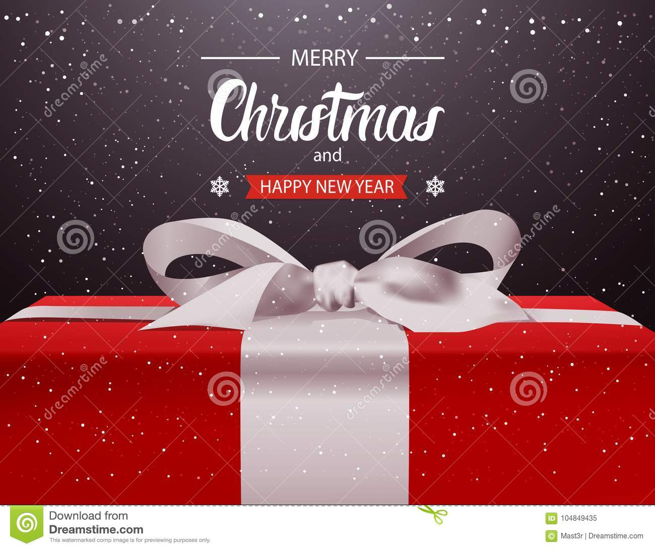 merry christmas and happy new year background red gift box with white ribbon bow holiday greeting