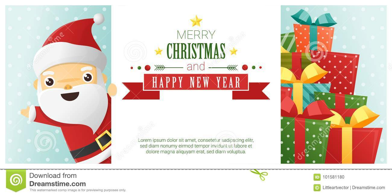 Merry Christmas and Happy New Year background with Santa Claus standing behind billboard