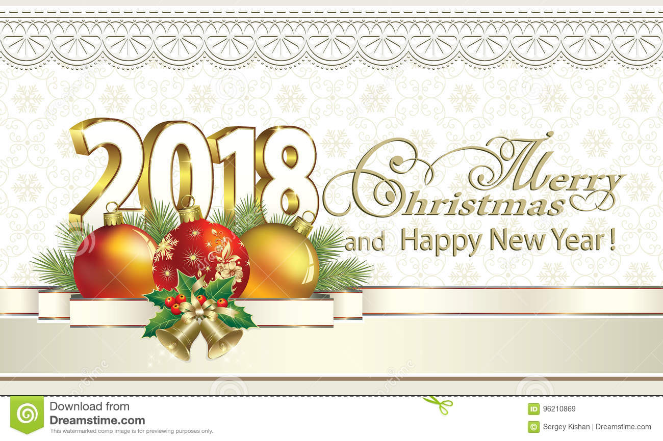 Elegant Merry Christmas And Happy New Year 2018 On A Background Of Snowflakes