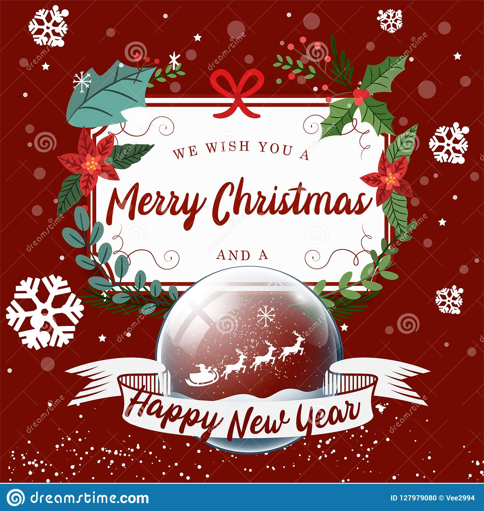 Merry Christmas and Happy New Year background, Tree rex and gift