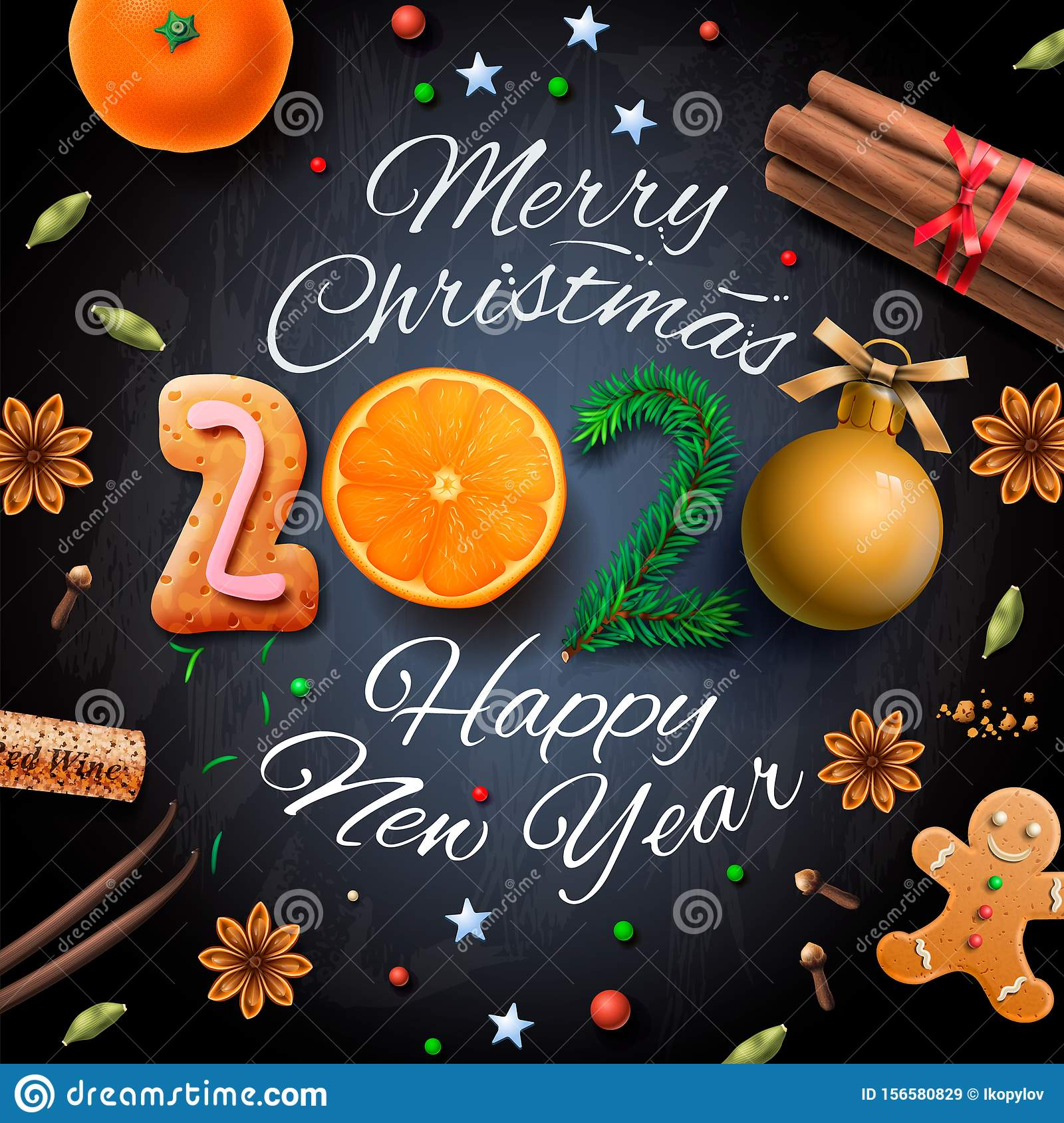 Christmas Dinner 2020 Merry Christmas, Happy New Year 2020, Background With Typography