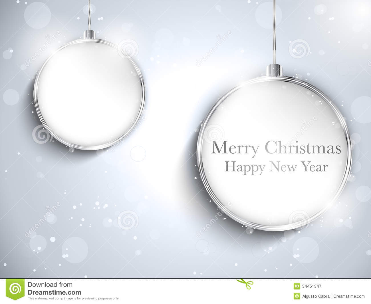 Merry Christmas Happy New Year Ball Silver with St