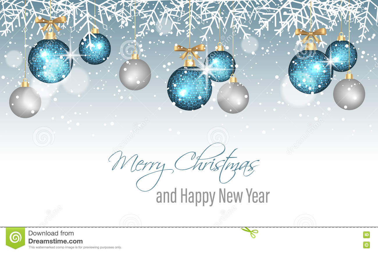 merry christmas and happy new year banner with snowflakes snow blurred circles blue