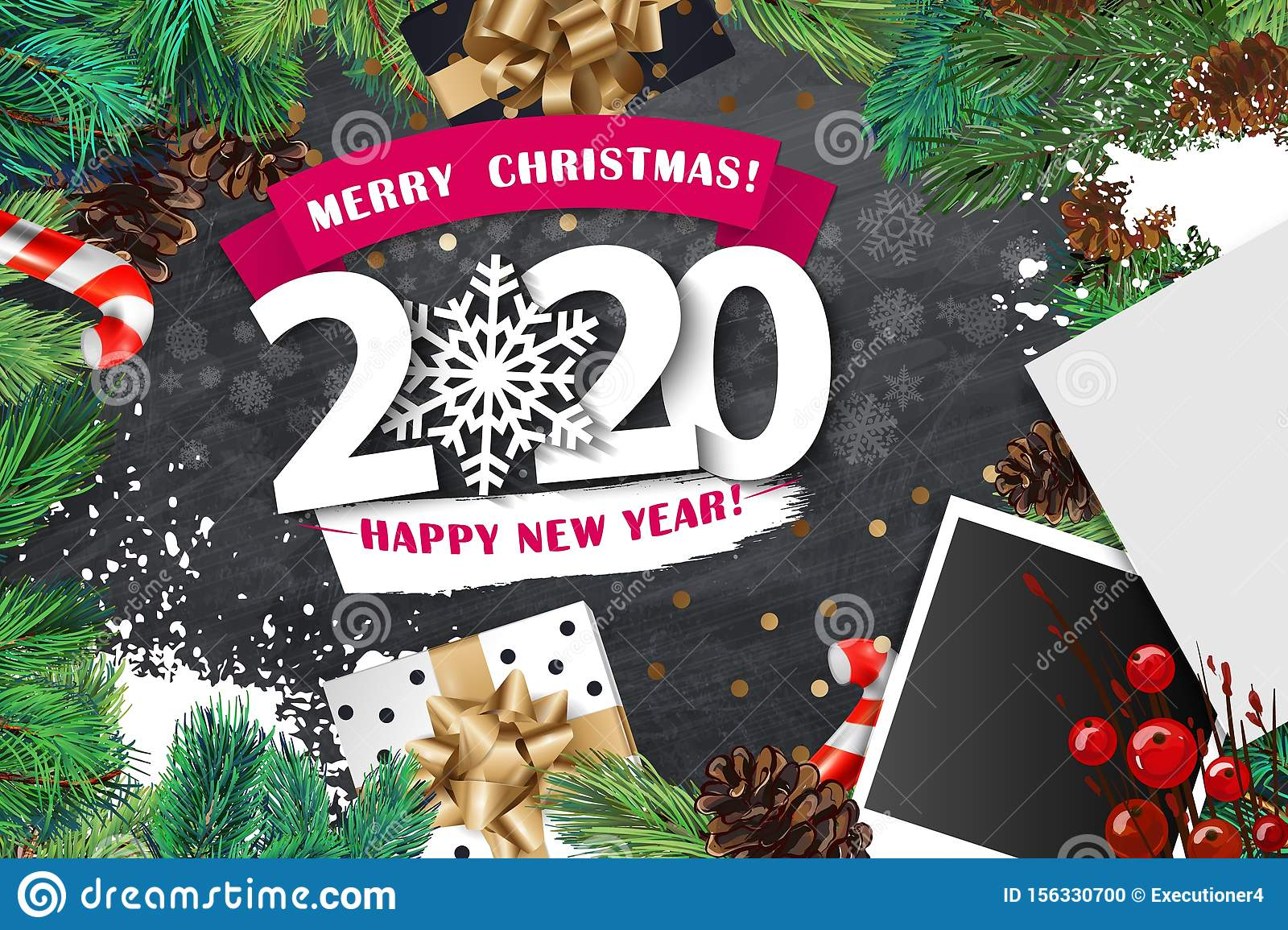 2020 Merry Christmas And Happy New Year Banner With White
