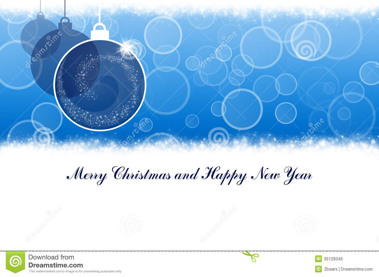 merry christmas and happy new year blue background with balls
