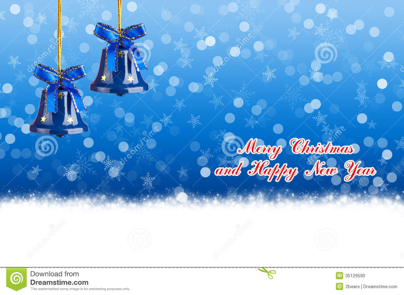 merry christmas and happy new year blue background with bells