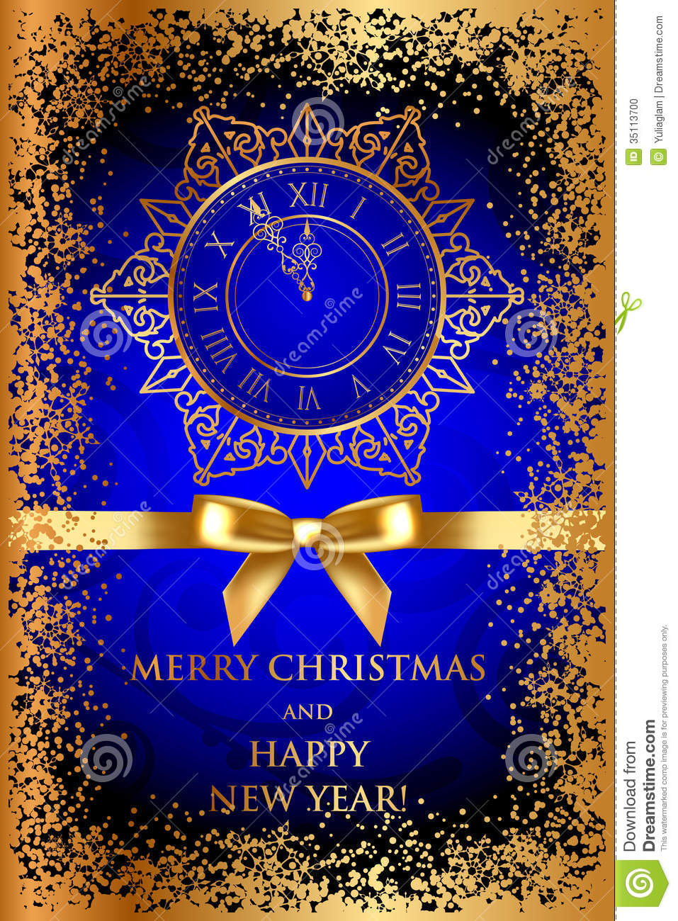 Merry Christmas & Happy New Year Blue Background W Stock ...