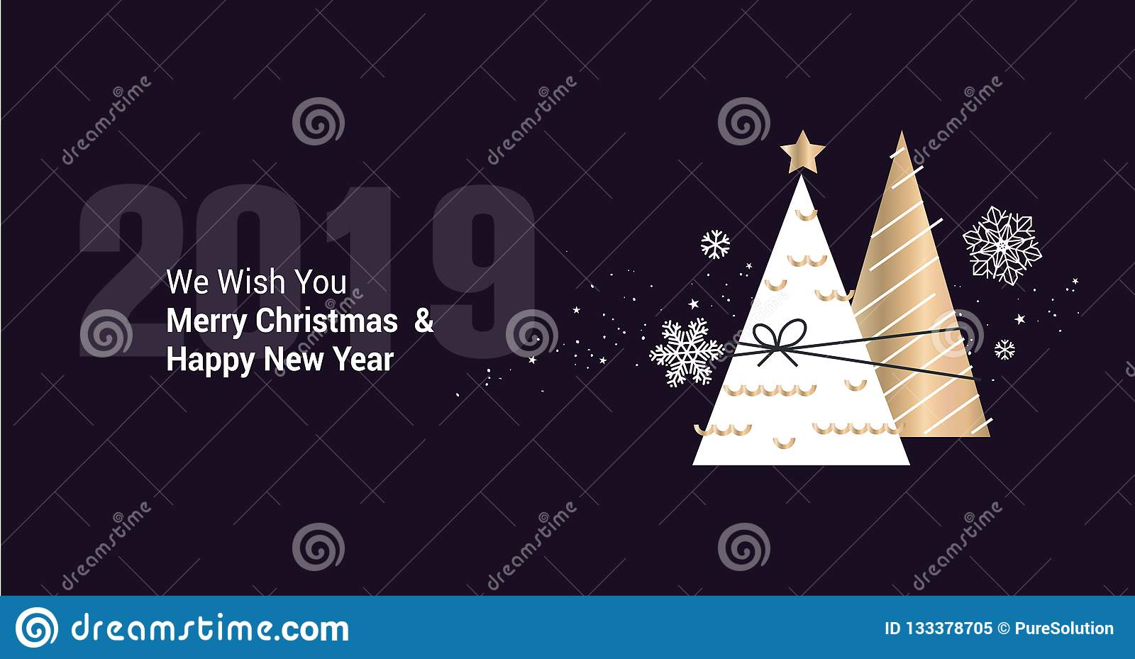 merry christmas and happy new year 2019 business greeting card stock