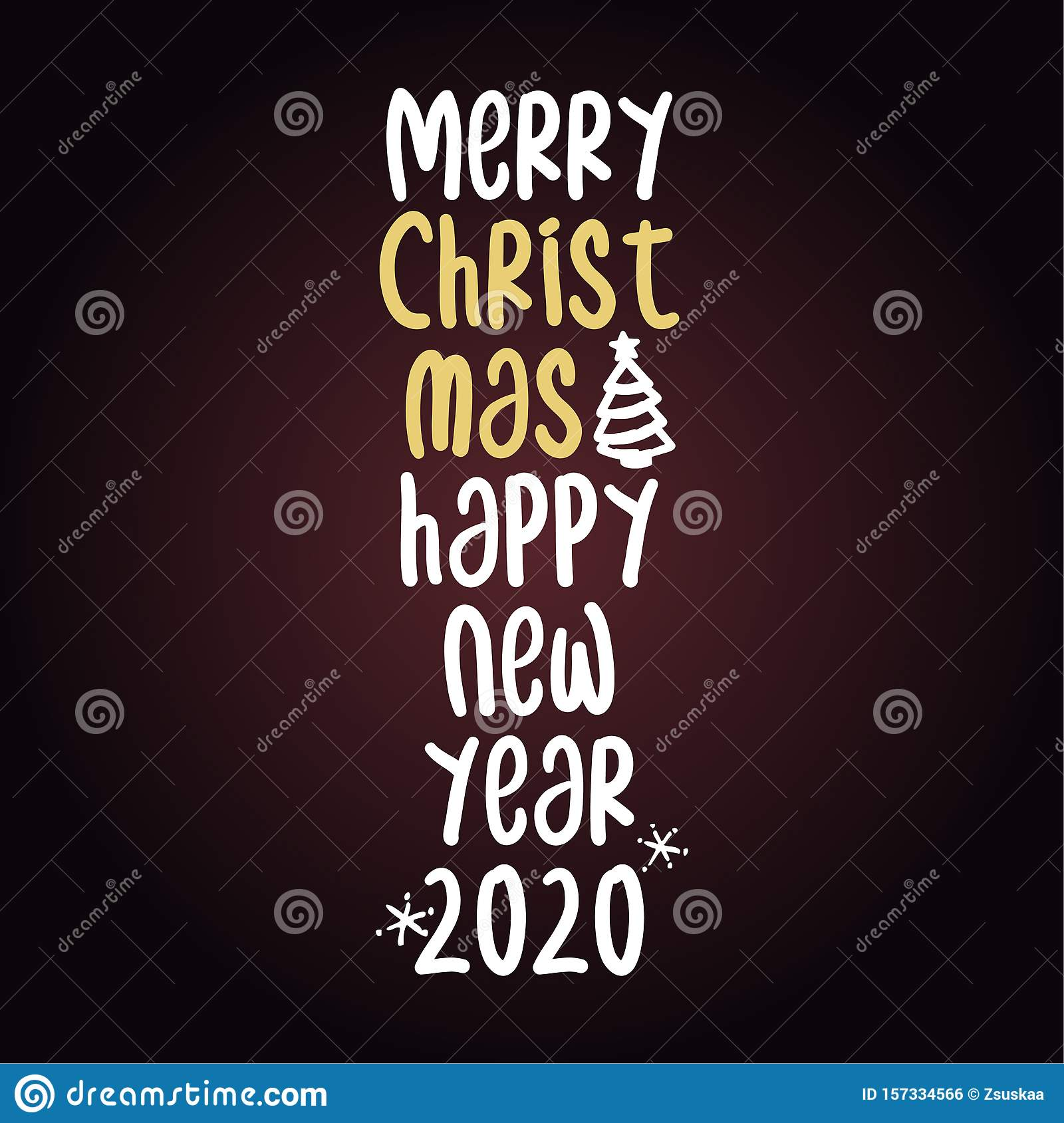 Merry Christmas and happy new year - Calligraphy phrase.