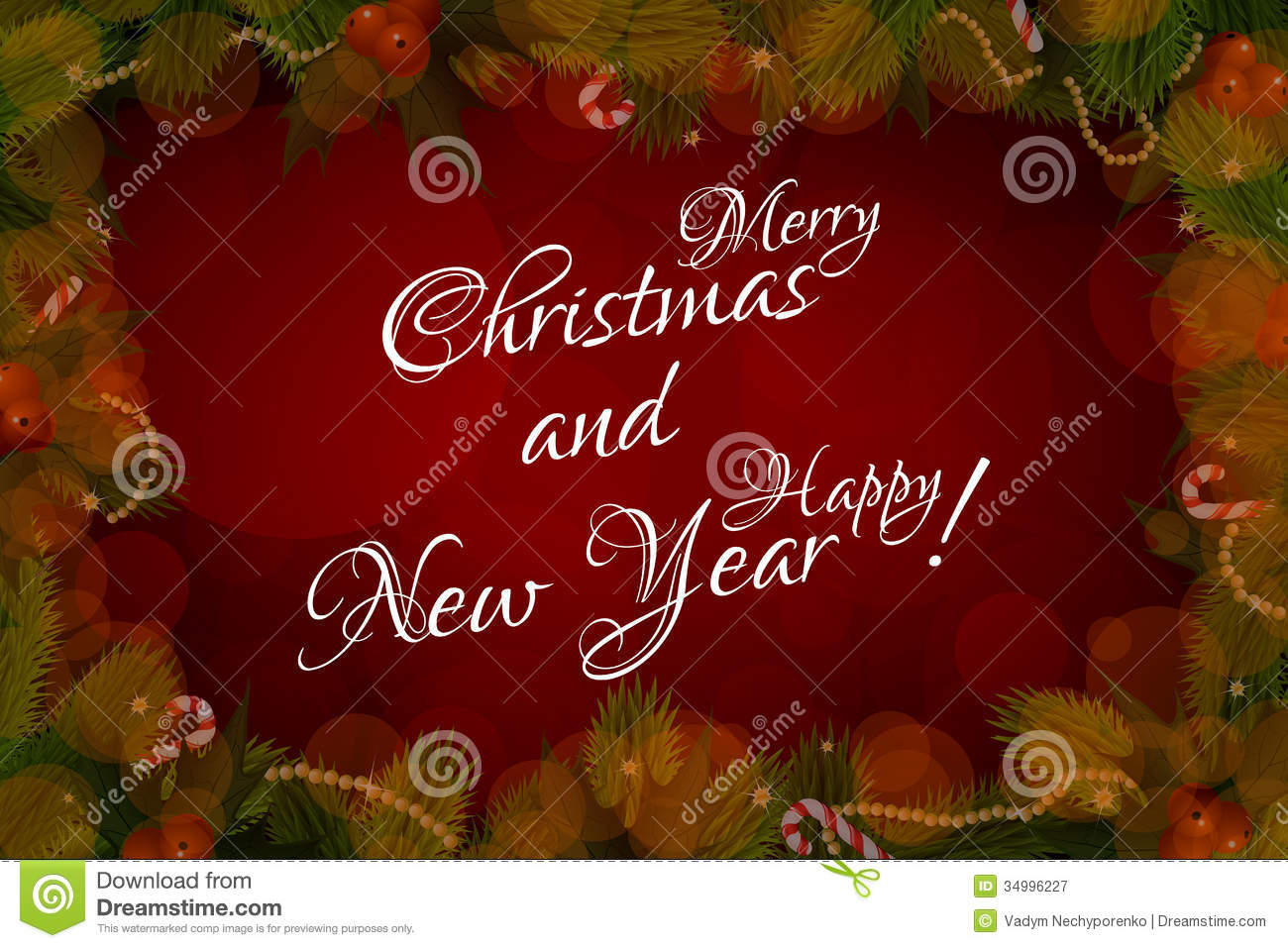 Merry Christmas And Happy New Year Card Royalty Free Stock ...