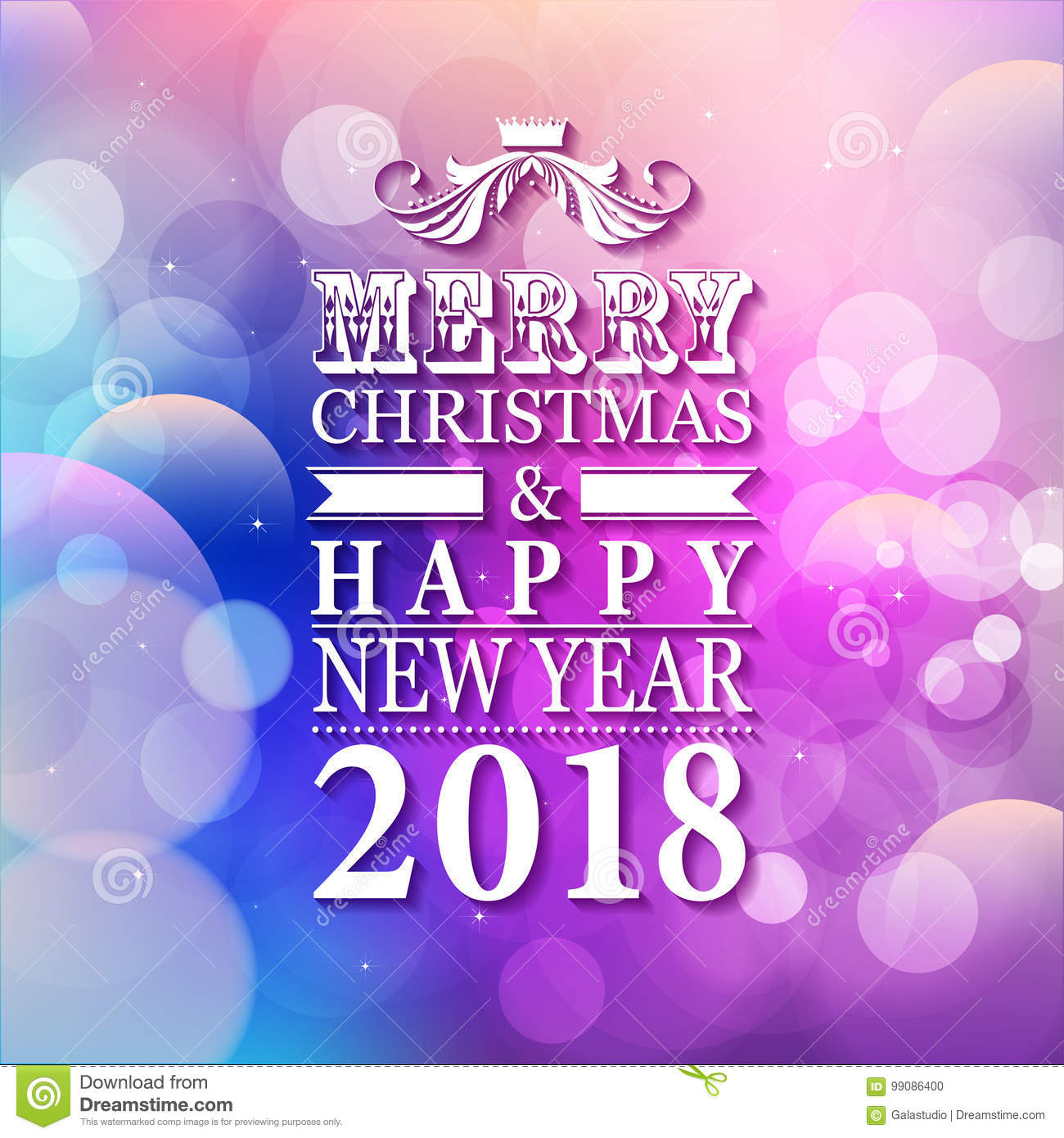 2018 merry christmas and happy new year card or background with