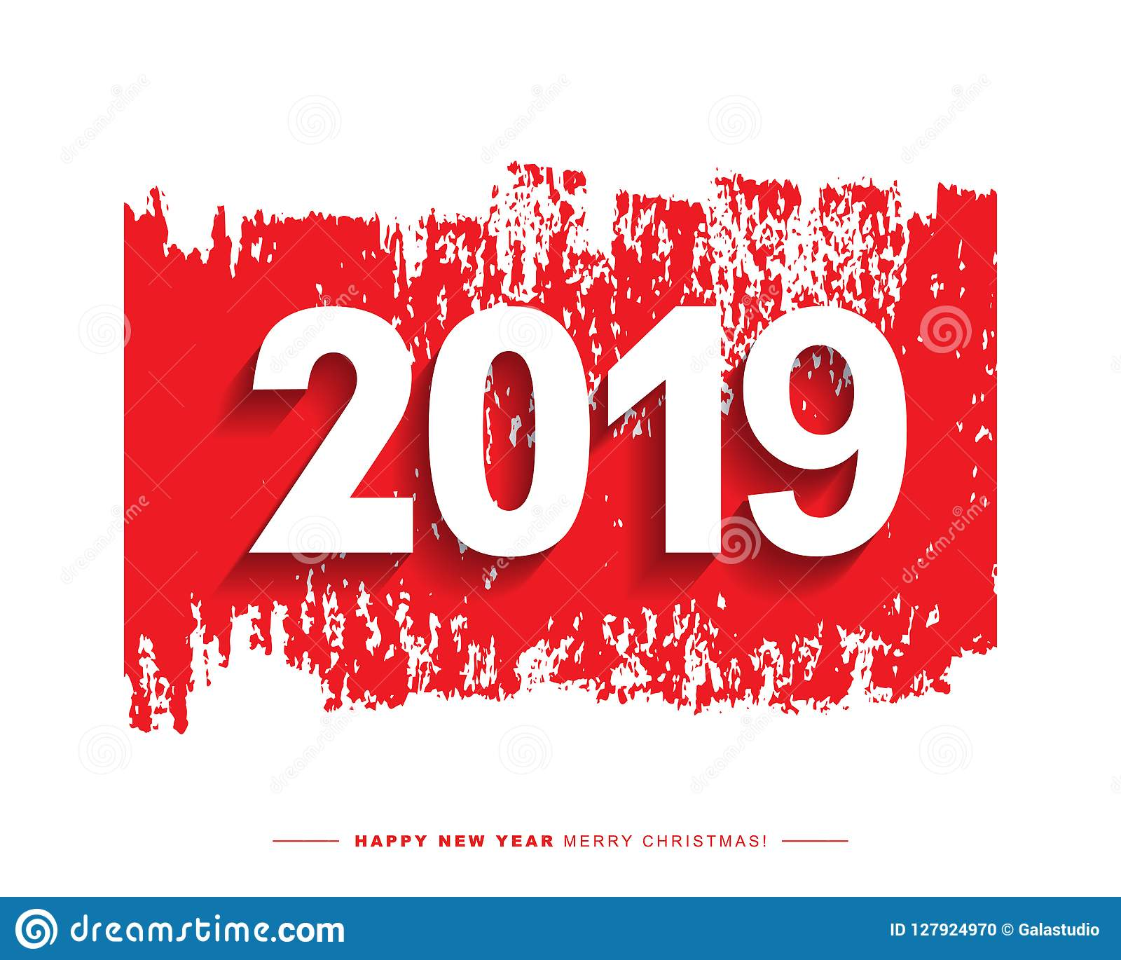 2019 merry christmas and happy new year card or background
