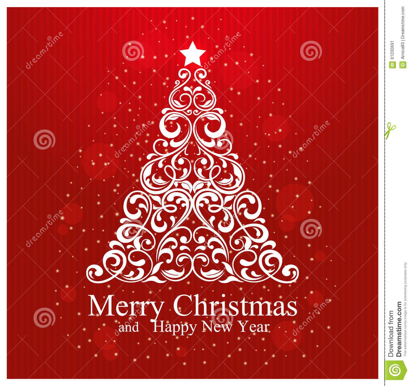 merry christmas and happy new year card with beautiful