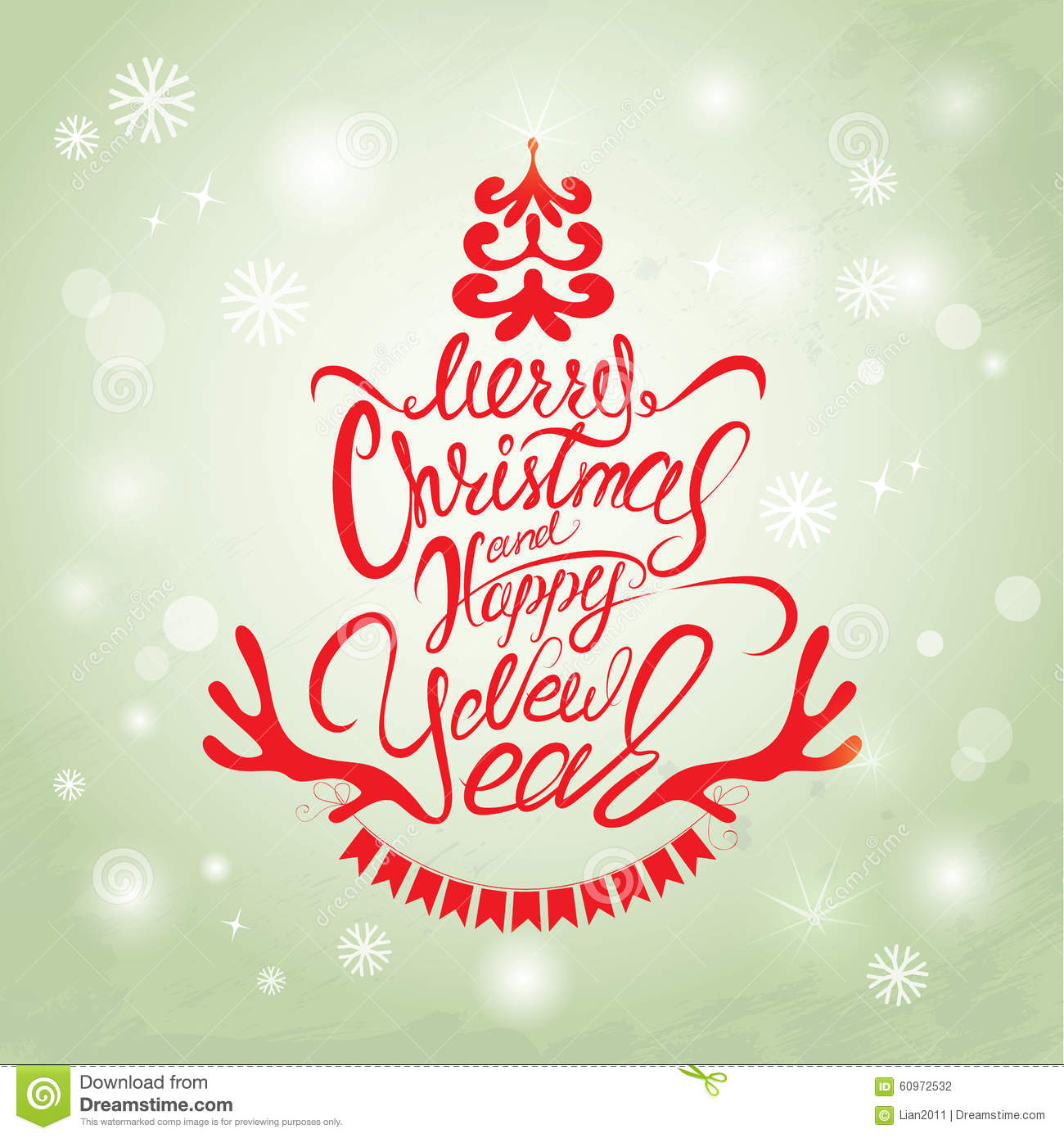 Merry Christmas And Happy New Year Card, Calligraphy Handwritten ...