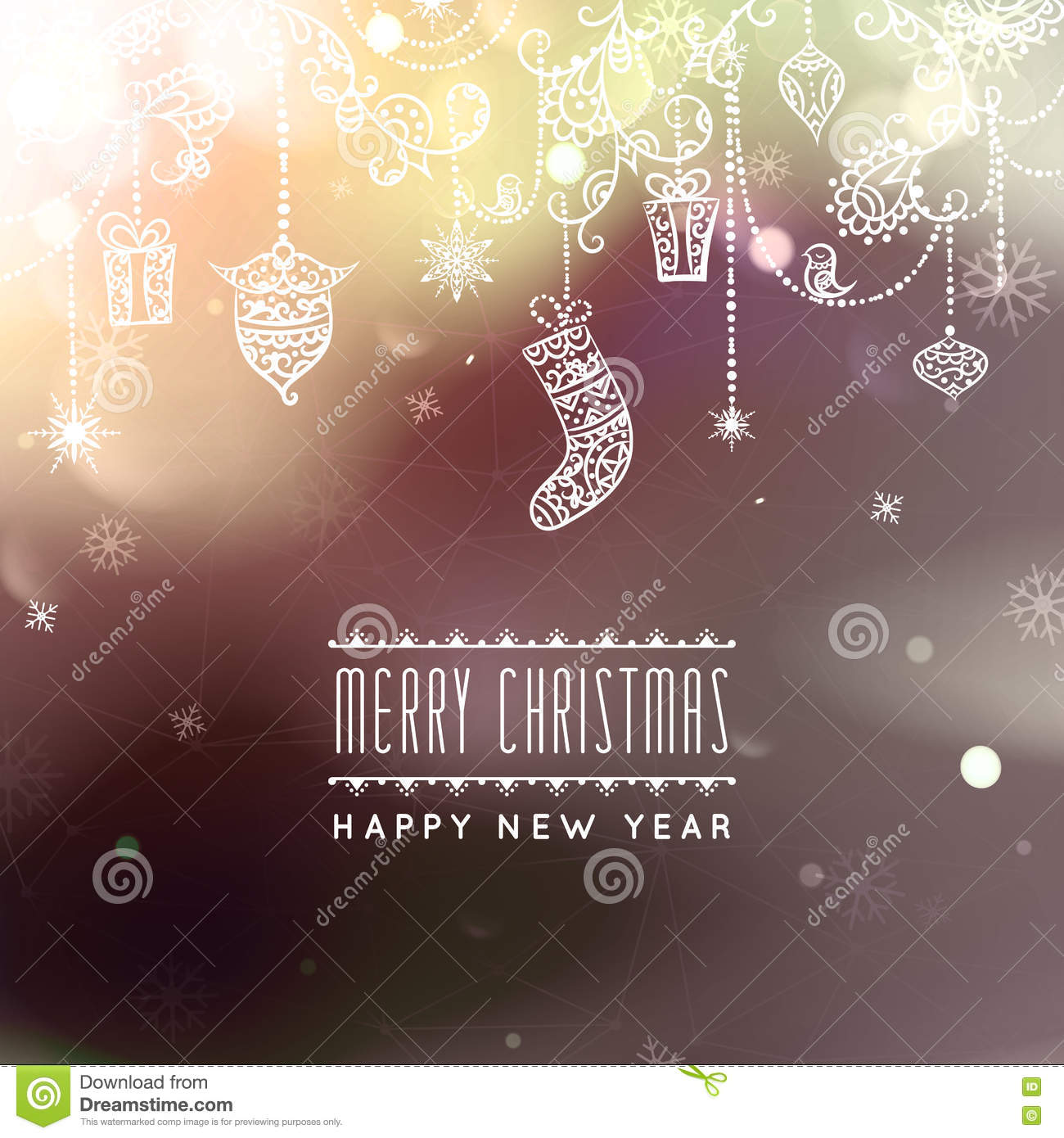 download merry christmas and happy new year card christmas typographic message vector bokeh background