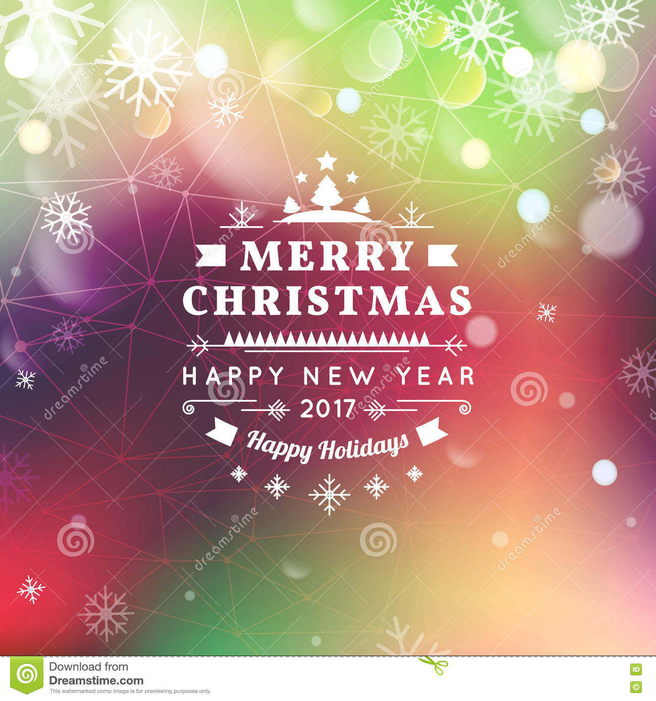 Merry Christmas And Happy New Year Card. Christmas Typographic ...
