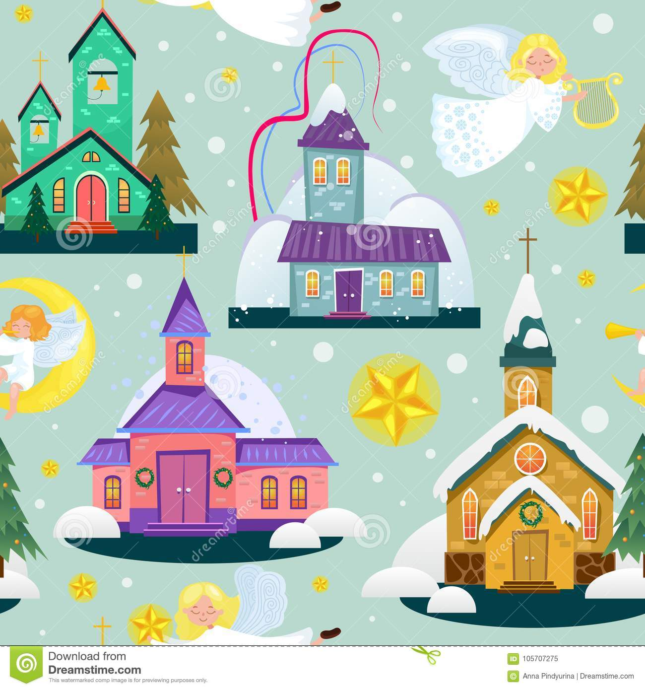 download merry christmas and happy new year seamless pattern church and green tree under snow