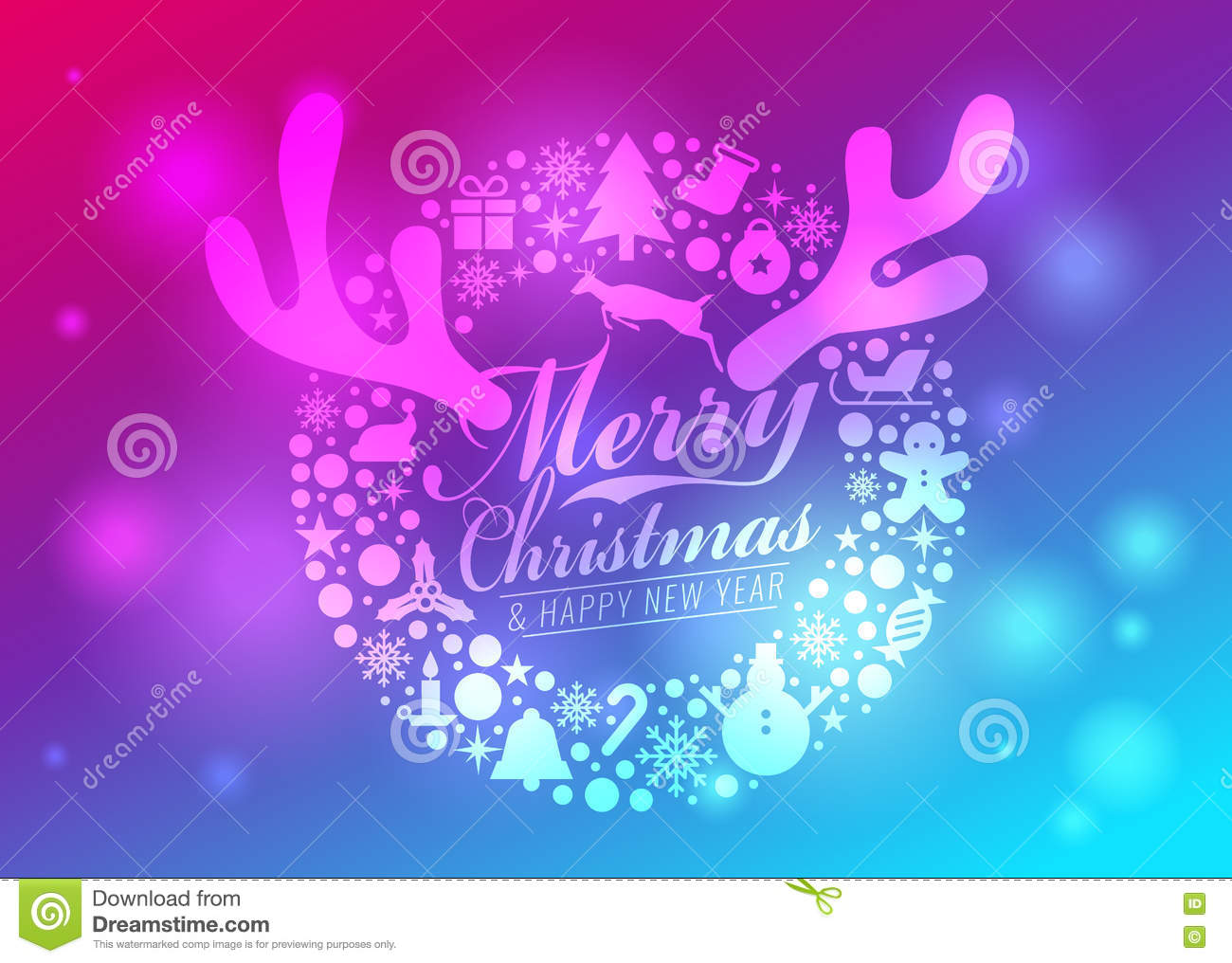 merry christmas and happy new year card circle christmas icon sign and reindeer antlers and