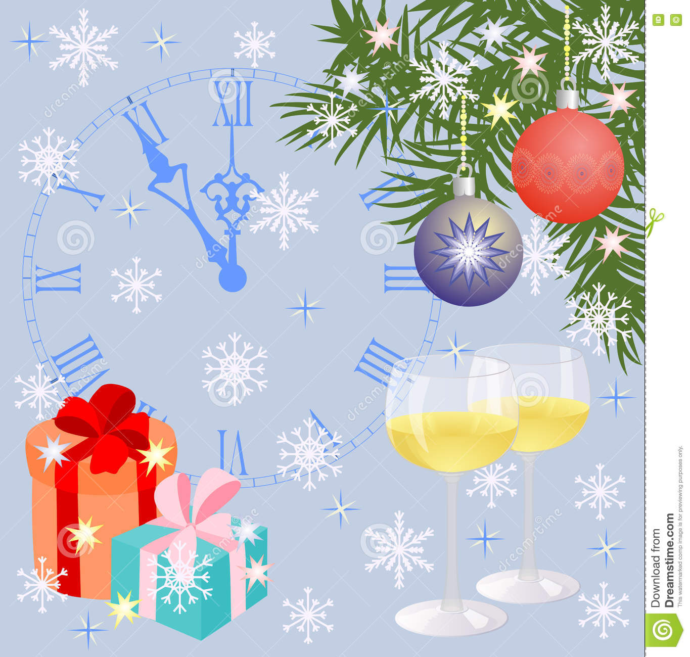christmas composition with gifts christmas decorations clocks and glasses of wine