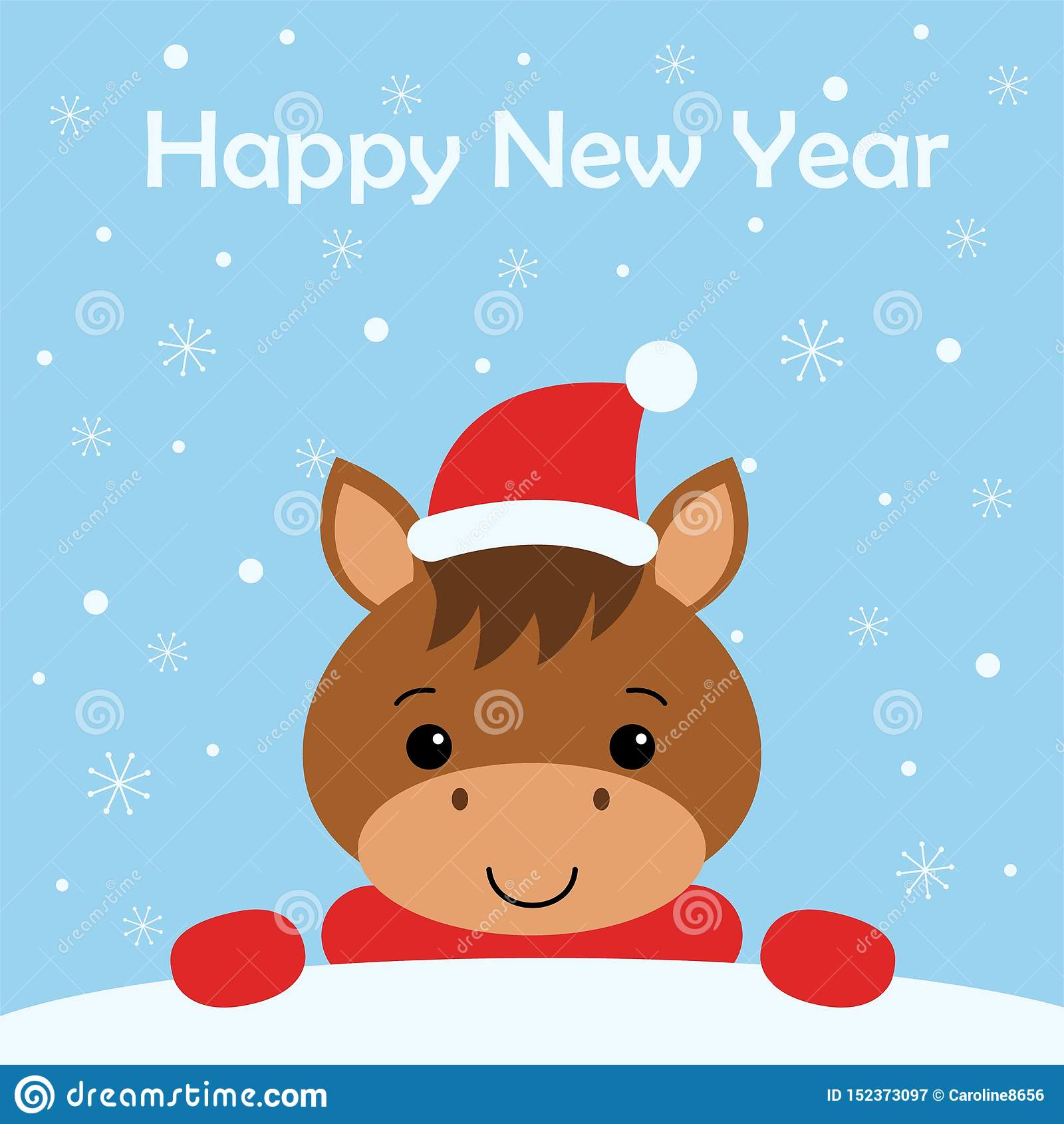 Merry Christmas And Happy New Year Card With Funny Horse Snow Background Stock Illustration Illustration Of Holiday Cartoon 152373097