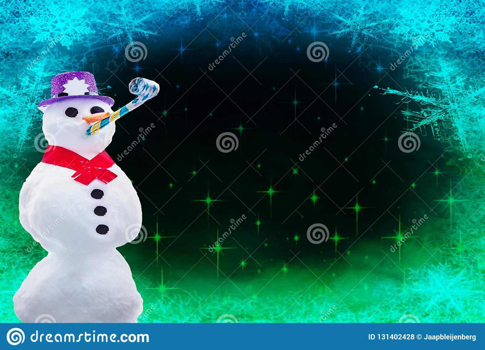 merry christmas or happy new year card a funny partying snowman isolated on a frozen background