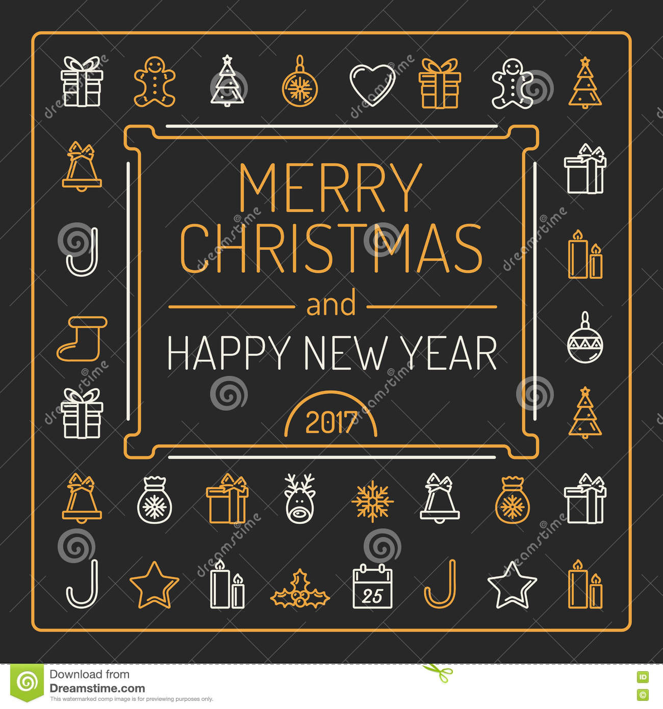 merry christmas and happy new year card golden and silver colour outlines on black background