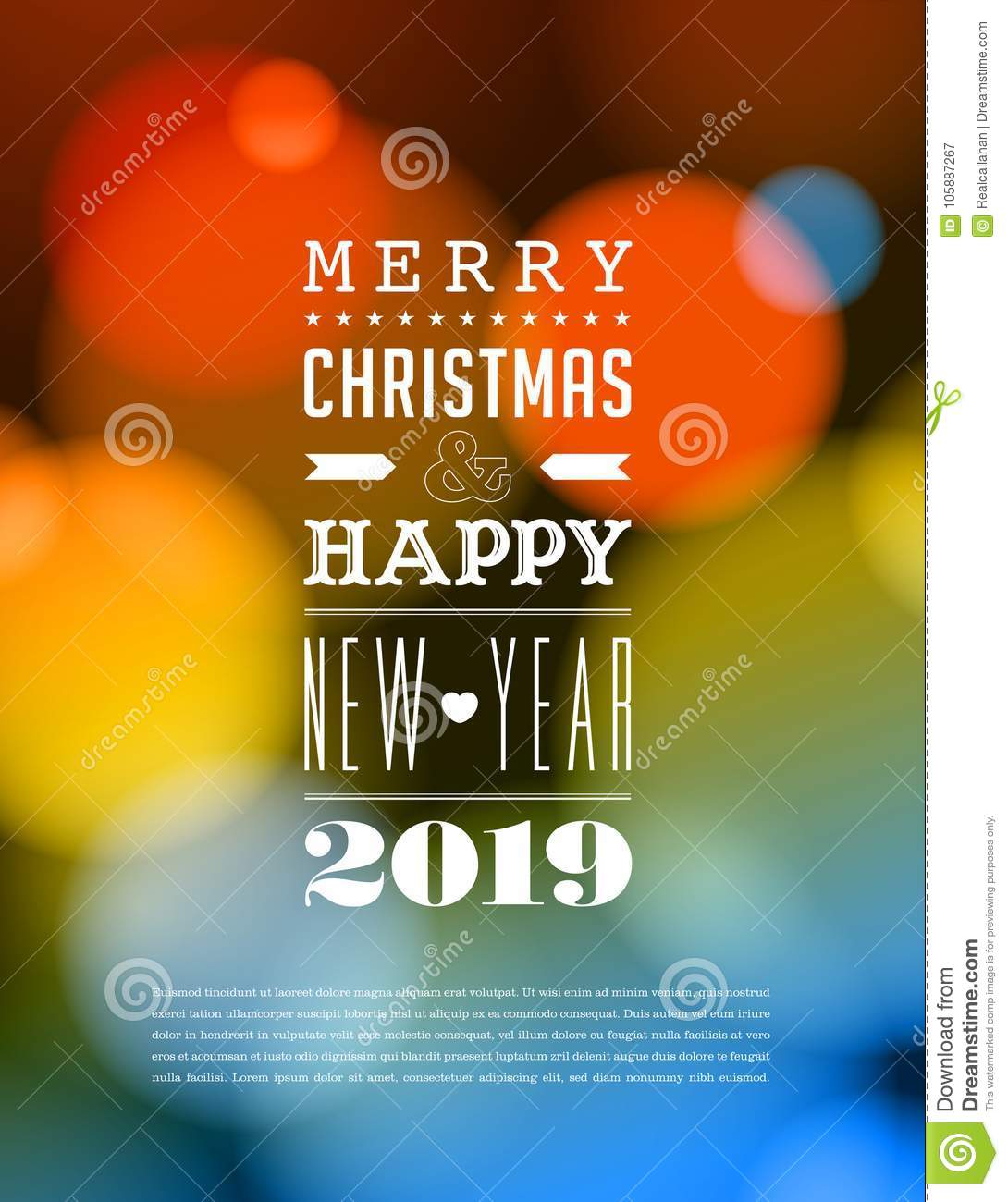 Merry Christmas And Happy New Year 2019 Card Stock Vector