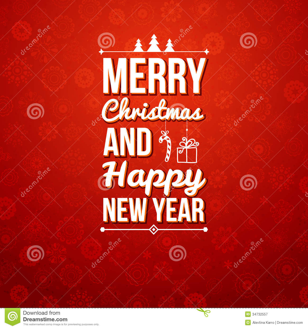 merry christmas and happy new year card holiday background and lettering can be easily used together or separately vector illustration