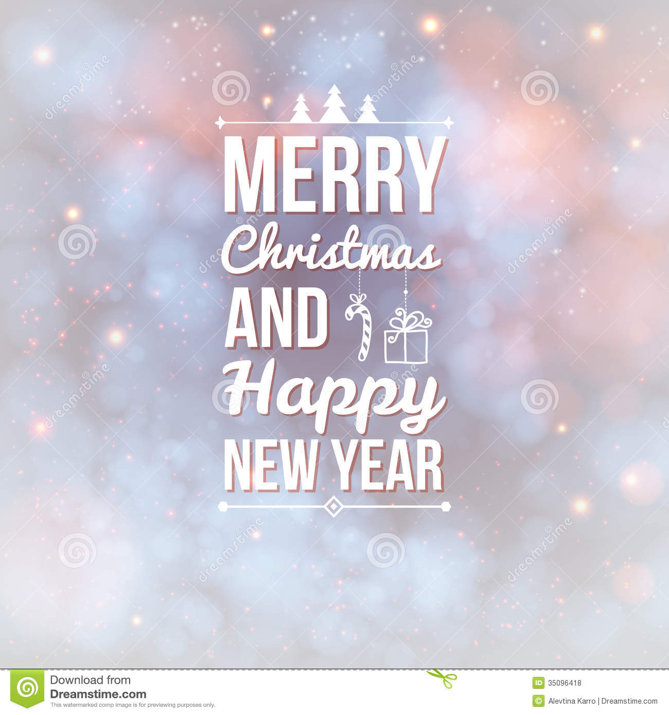 Merry Christmas And Happy New Year Card Stock Vector Illustration