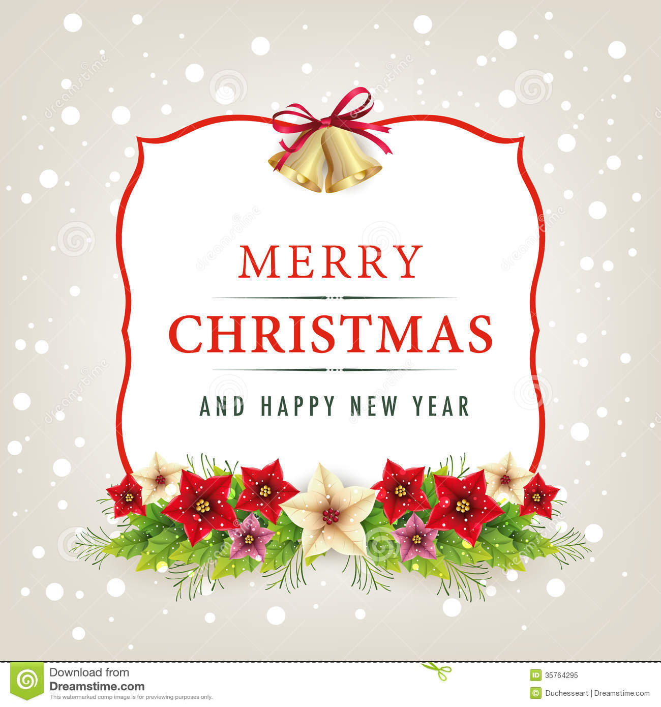 Merry Christmas And Happy New Year Card Stock Vector - Illustration ...