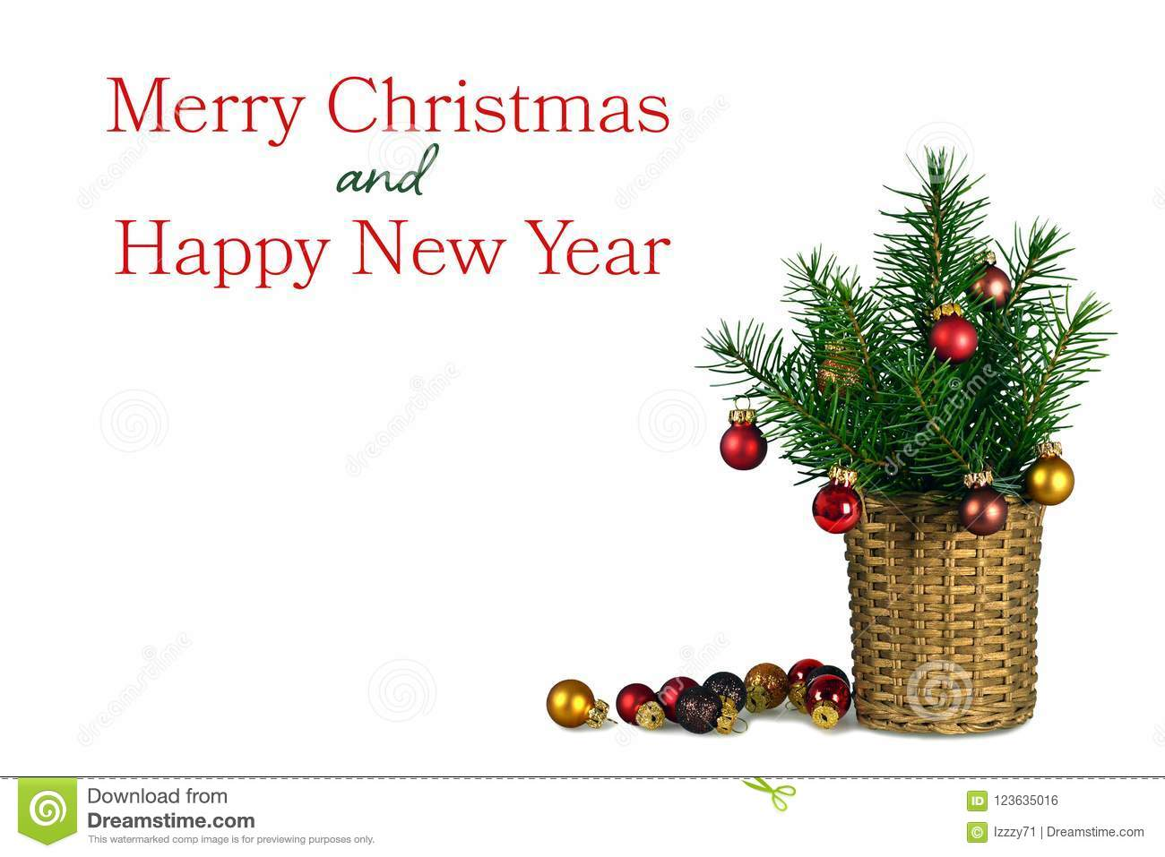 Merry Christmas And Happy New Year Card Stock Photo - Image of ...