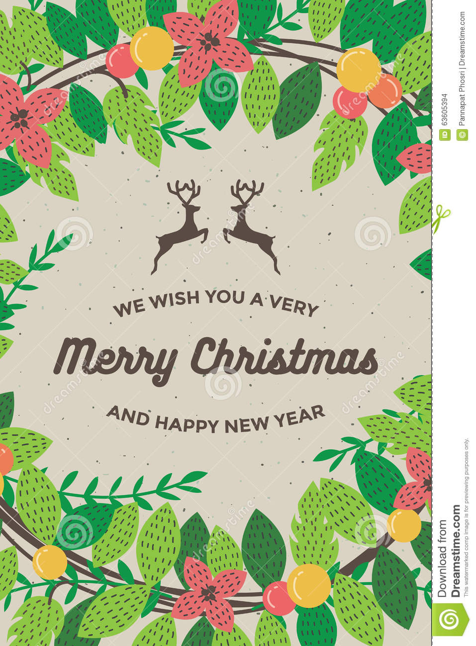 merry christmas and happy new year card for poster background template retro vector illustration