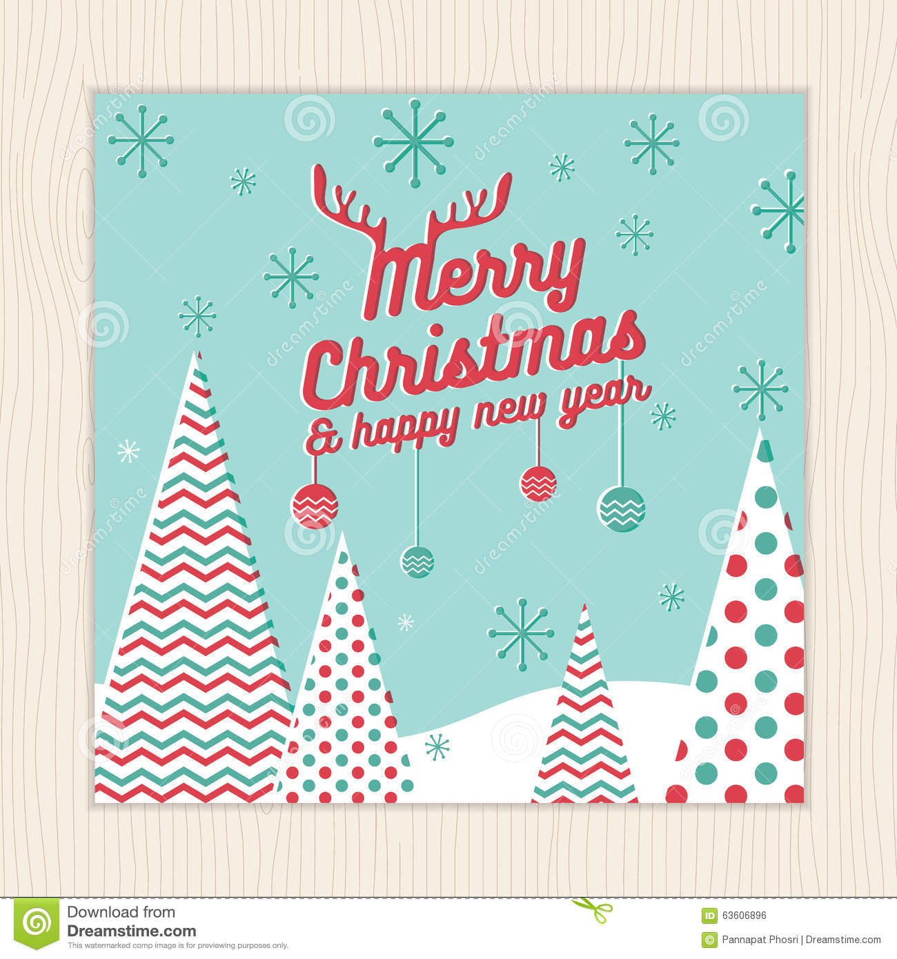 merry christmas happy new year card or poster template with christmas tree background in green