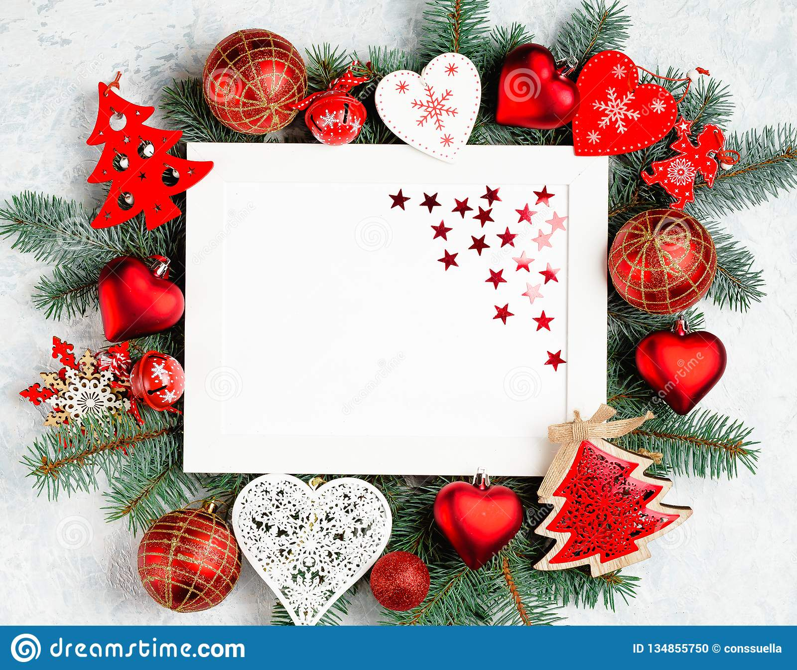Merry Christmas And Happy New Year Card With Red ...