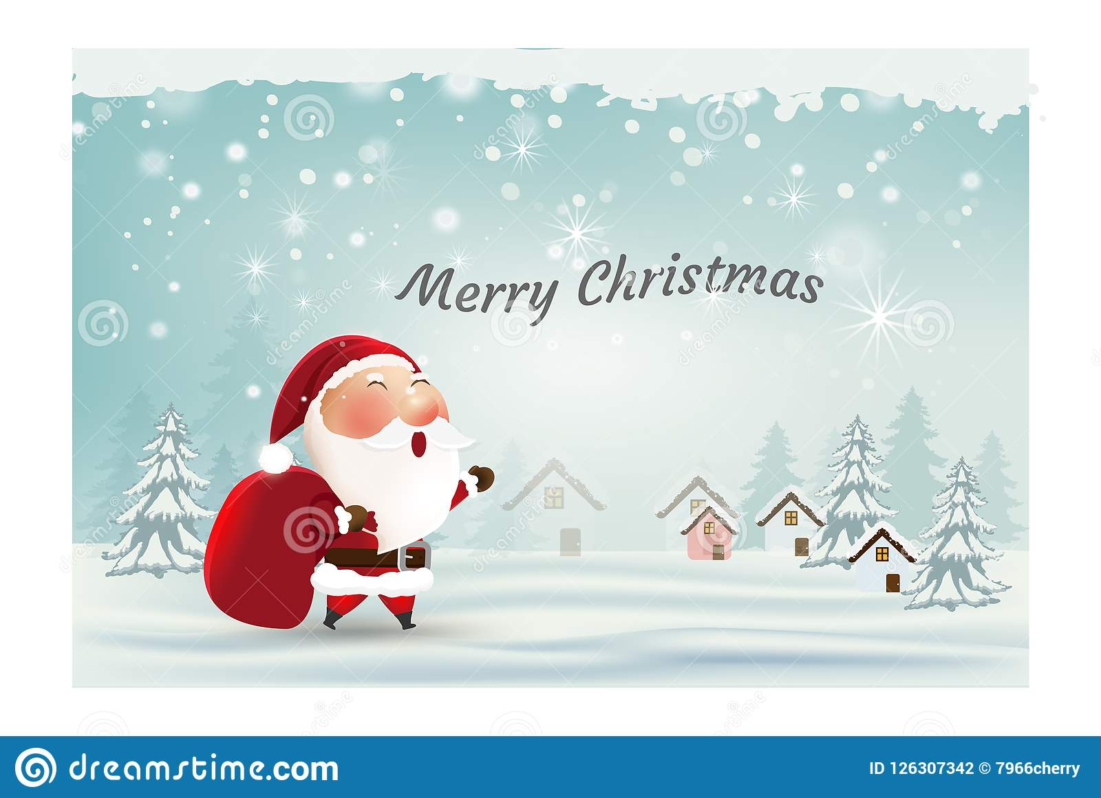 merry christmas and happy new year cardsanta claus snow scene happy greeting