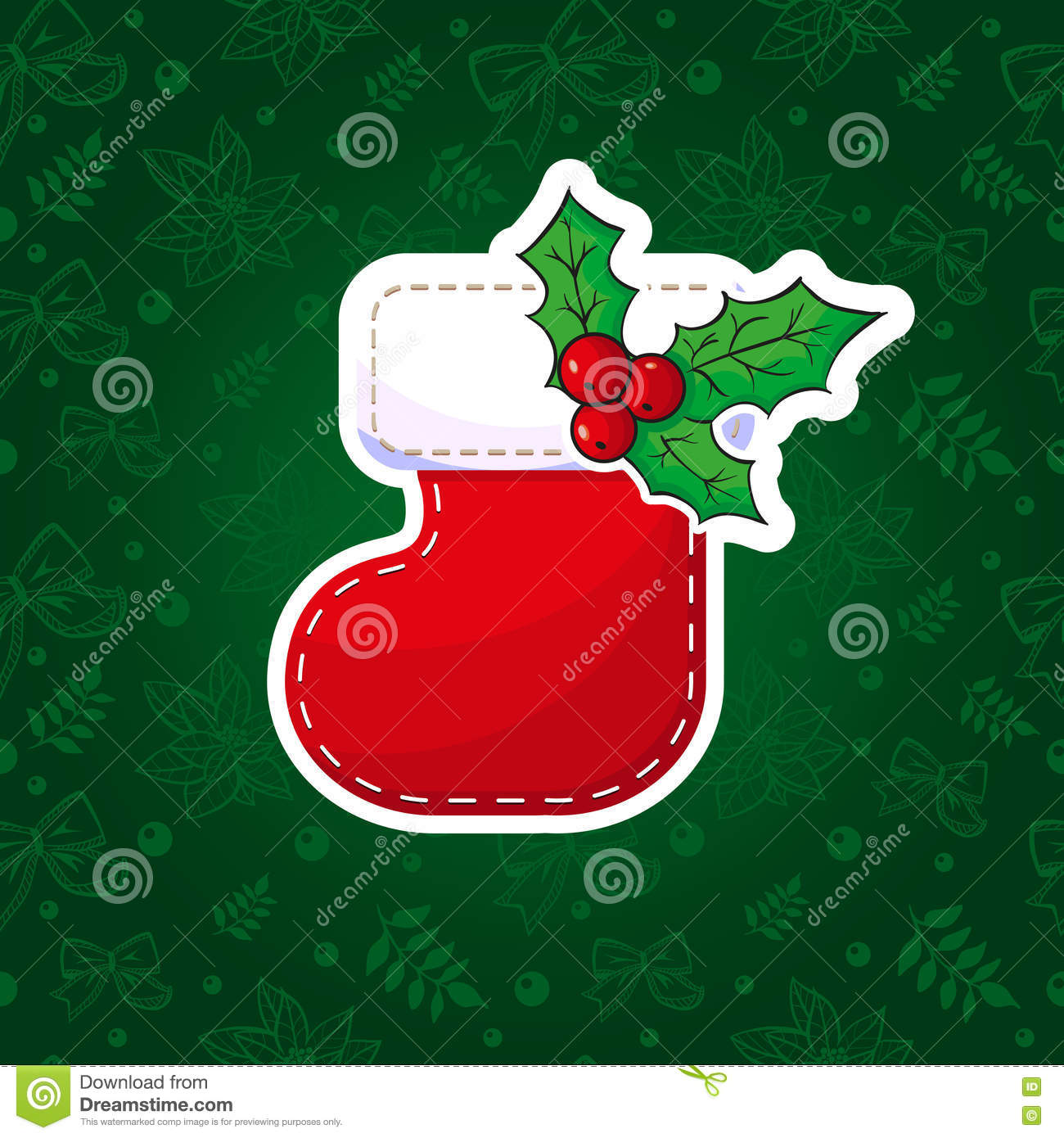 merry christmas or happy new year card template with red sock and poinsettia star