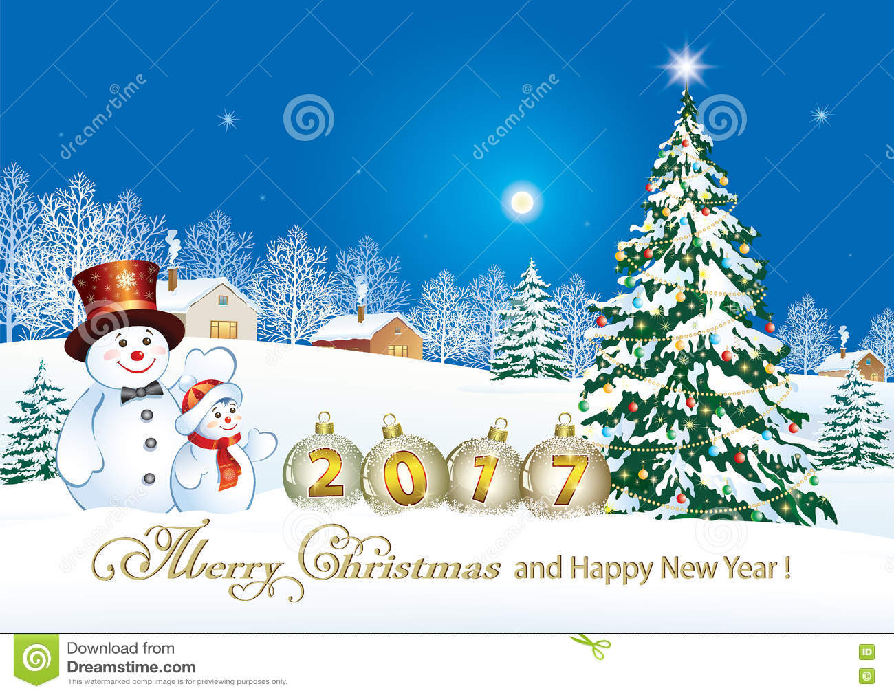 Merry Christmas And Happy New Year 2017 Stock Vector - Image: 78208354