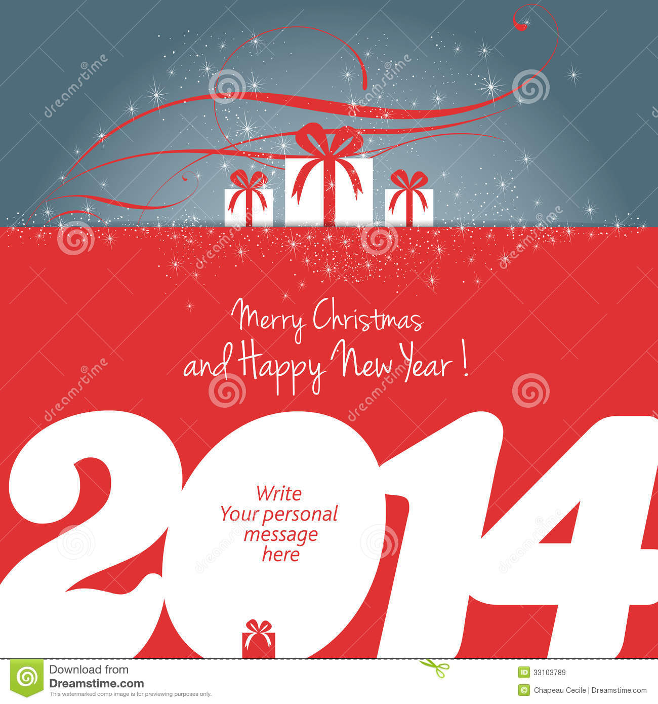 Merry Christmas And Happy New Year 2014 ! Stock Vector