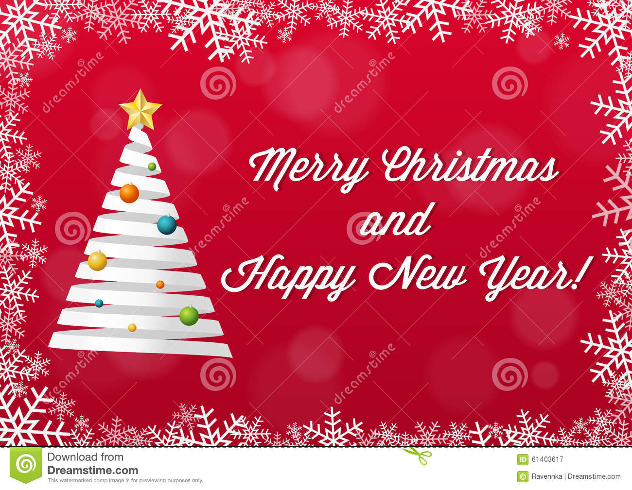 Merry Christmas And Happy New Year Card - White On Red Backgroun ...