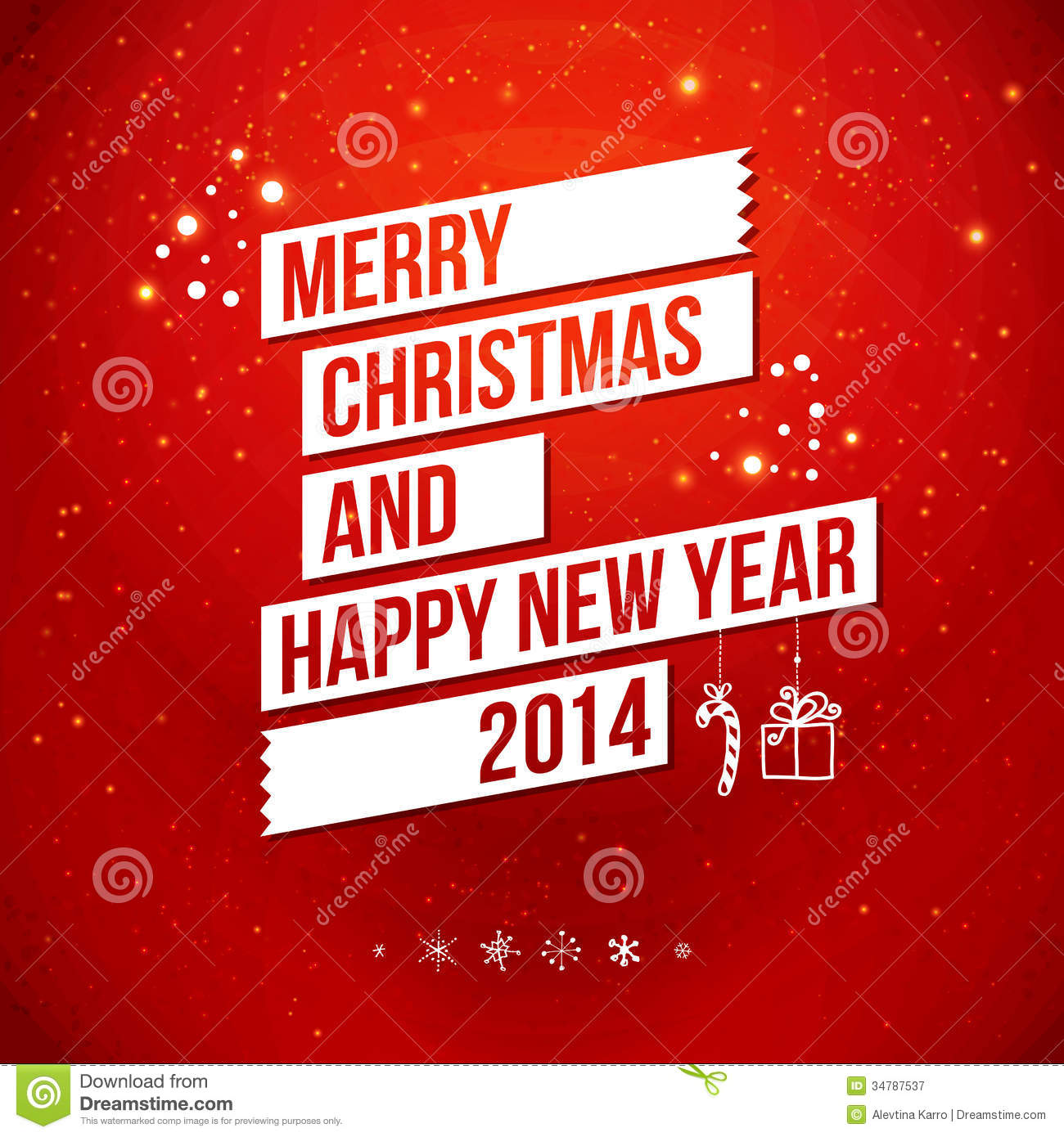 Merry Christmas And Happy New Year 2014 Card. Stock Illustration ...