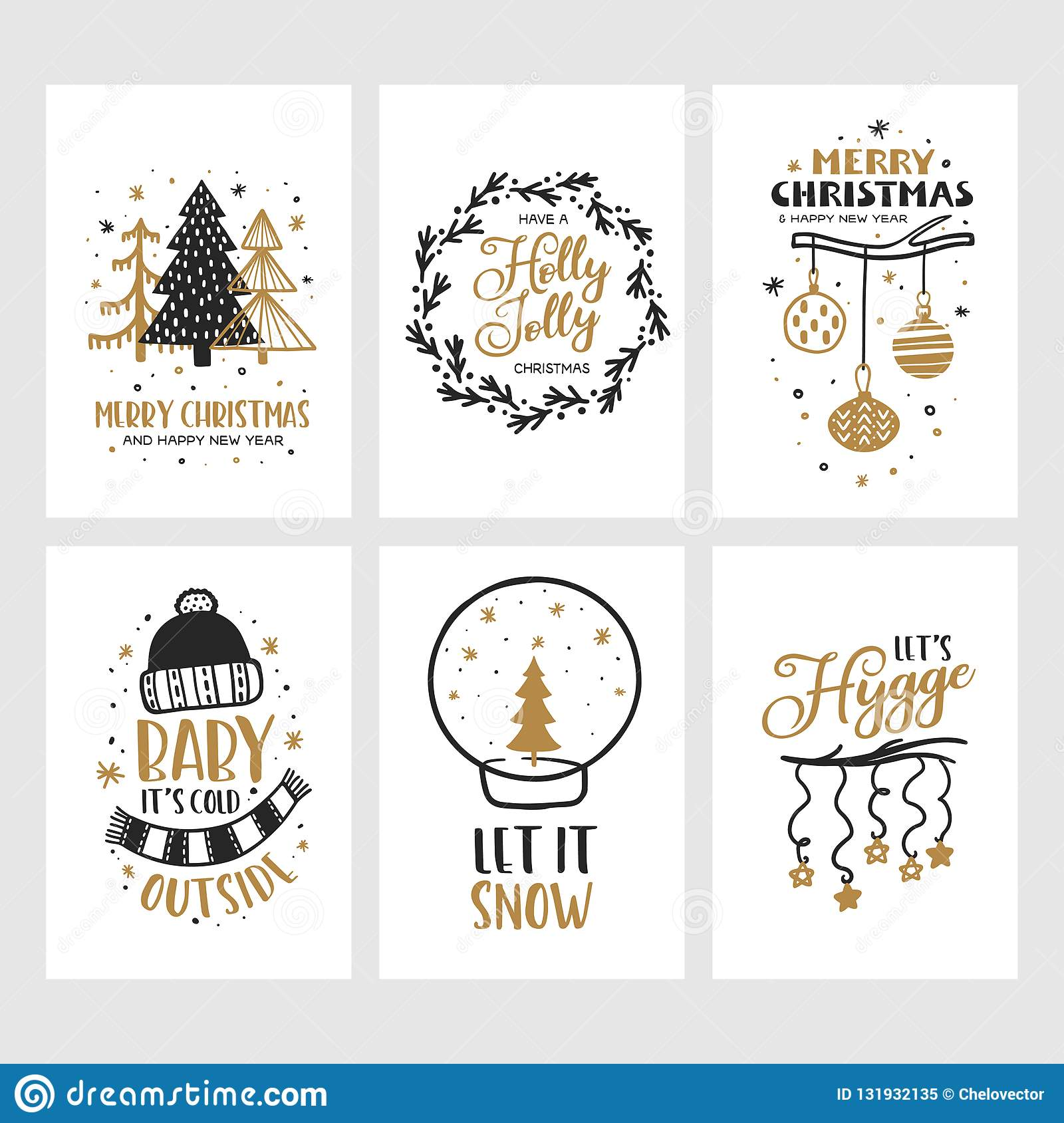 merry christmas and happy new year cards set vector vintage illustration