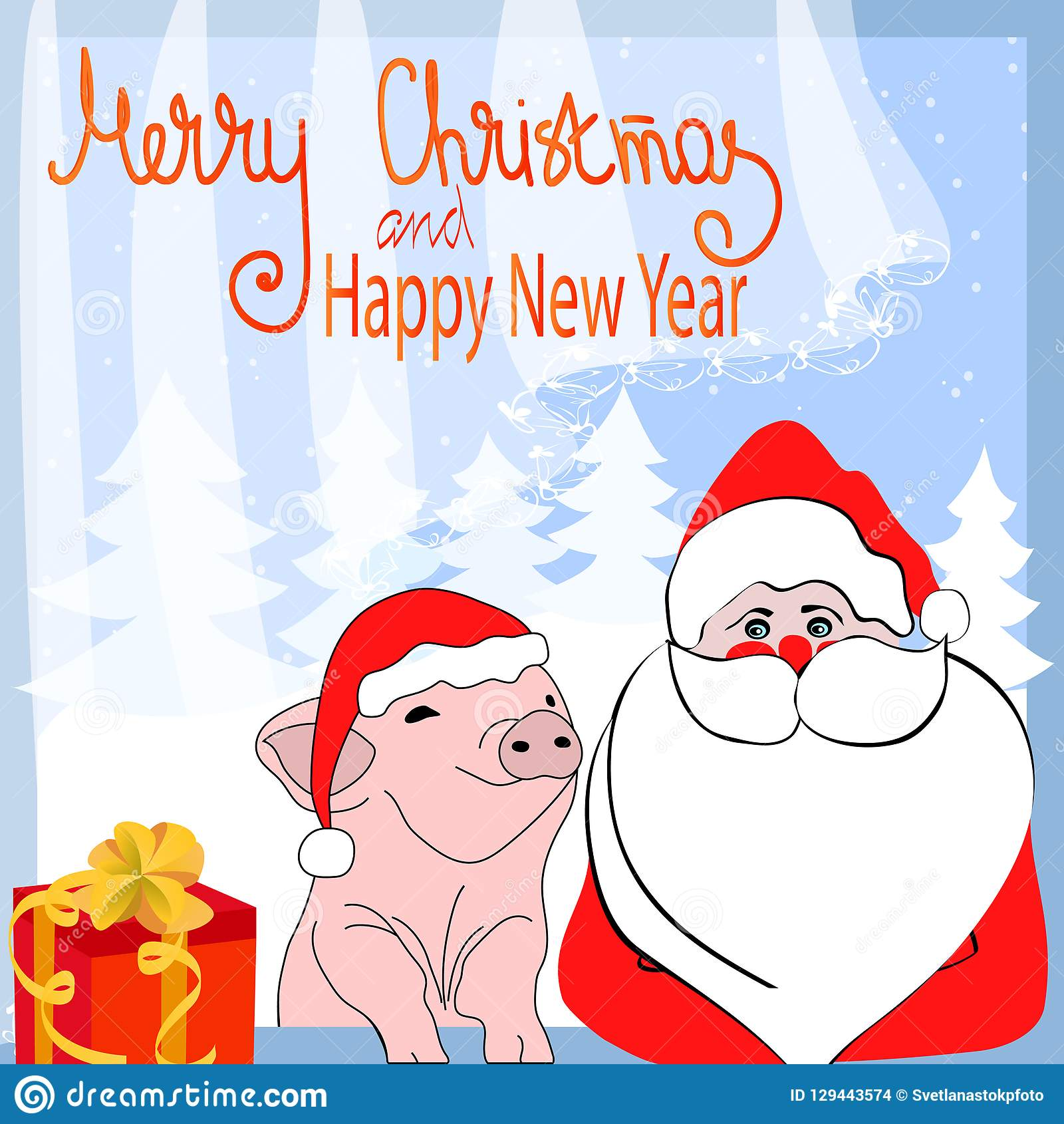 Funny Merry Christmas.Merry Christmas And Happy New Year Cartoon Funny Characters