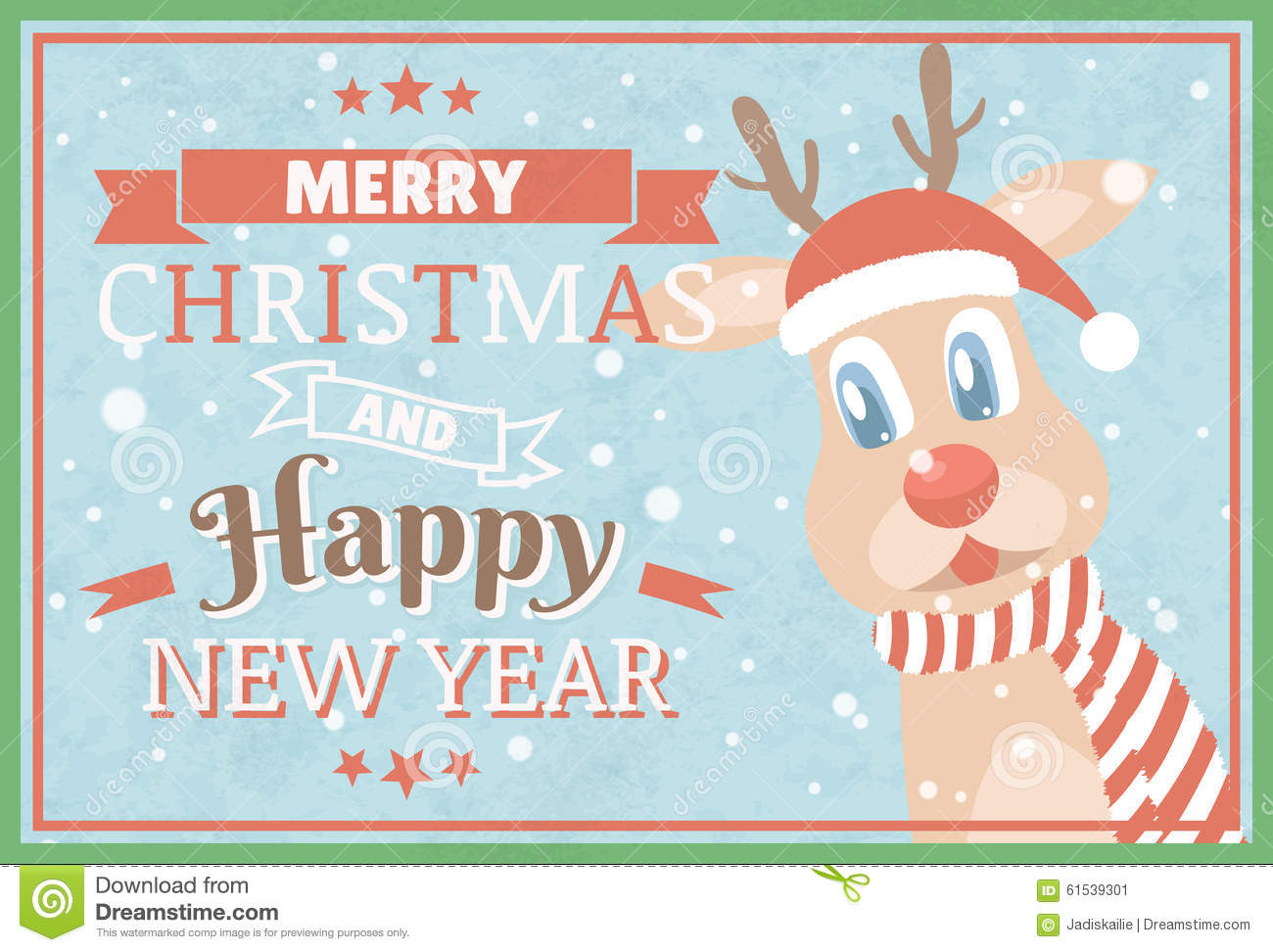 Merry Christmas And Happy New Year. Christmas Greeting Cards. Stock ...