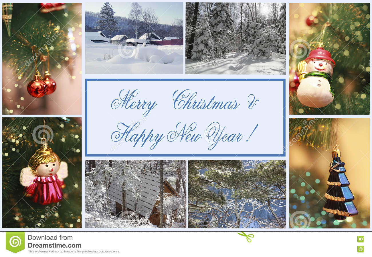 merry christmas happy new year collage of image