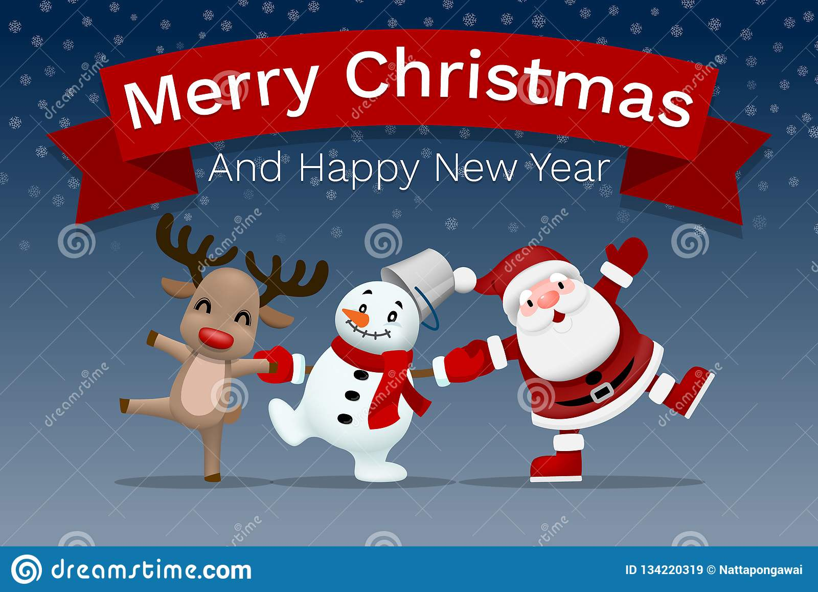 Merry Christmas! Happy Christmas Companions. Stock Vector
