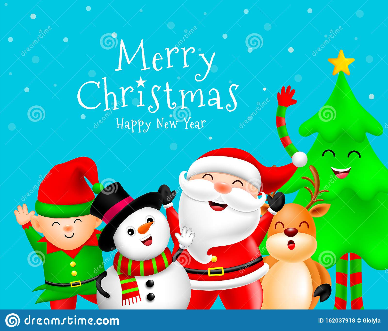 Funny Christmas Characters Design On Snow Background Santa Claus Snowman Reindeer Elf And Christmas Tree Stock Vector Illustration Of Idea Presents 162037918