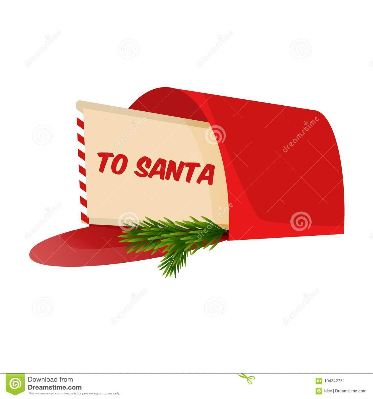 Christmas Letter To Santa Claus In The Mailbox Stock Vector Illustration Of Merry Happy 104342751