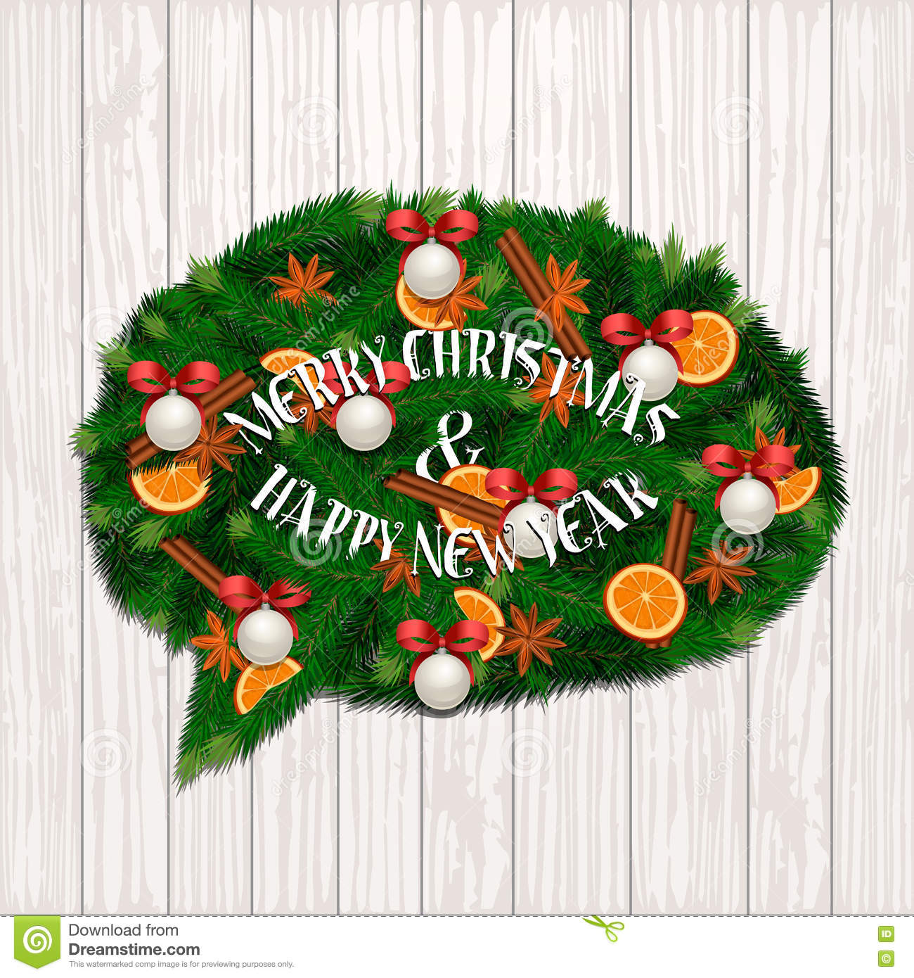 Merry Christmas And Happy New Year Concept Stock Vector