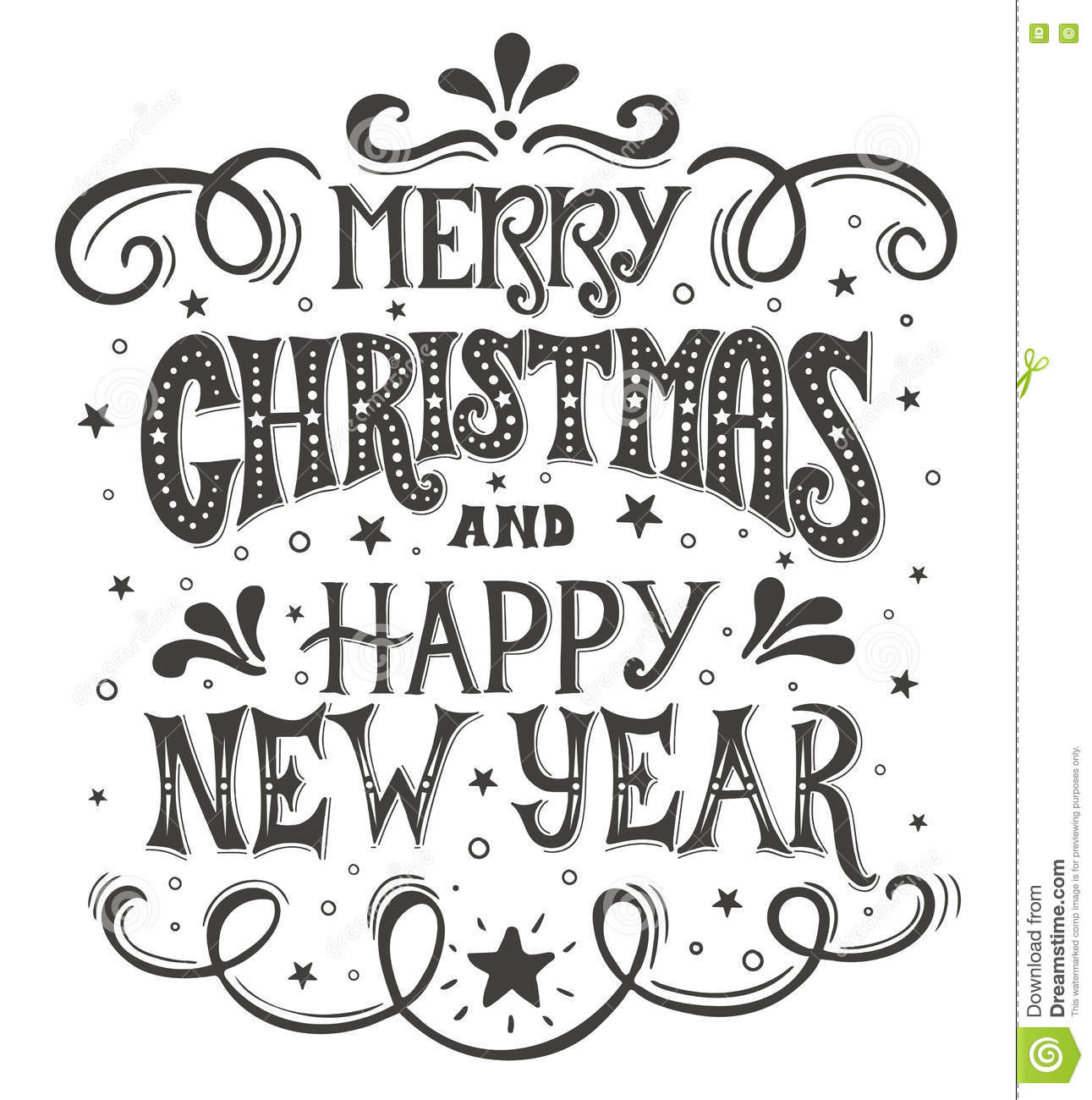 Merry Christmas And Happy New Year. Conceptual Handwritten Phrase T ...